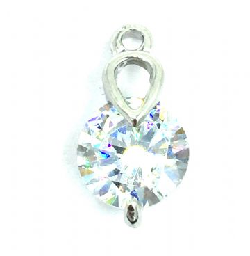 Crystal charm / pendant - 10mm crystal with tear drop mount - rhodium